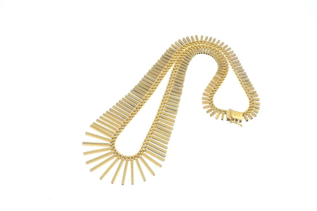 A 1970s 9ct gold necklace. Designed as a graduated - 3