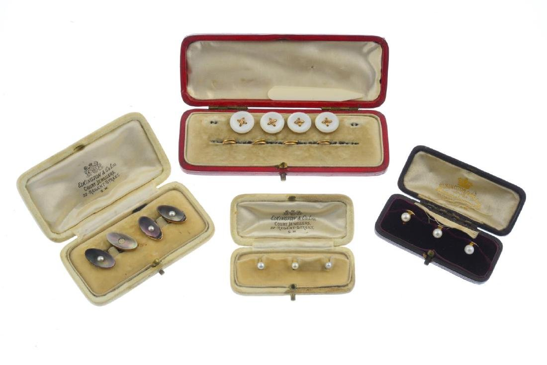Four early 20th century gold dress-stud sets. To - 2