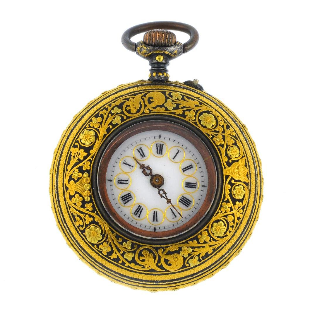 A damascene pocket watch. Of circular outline, the