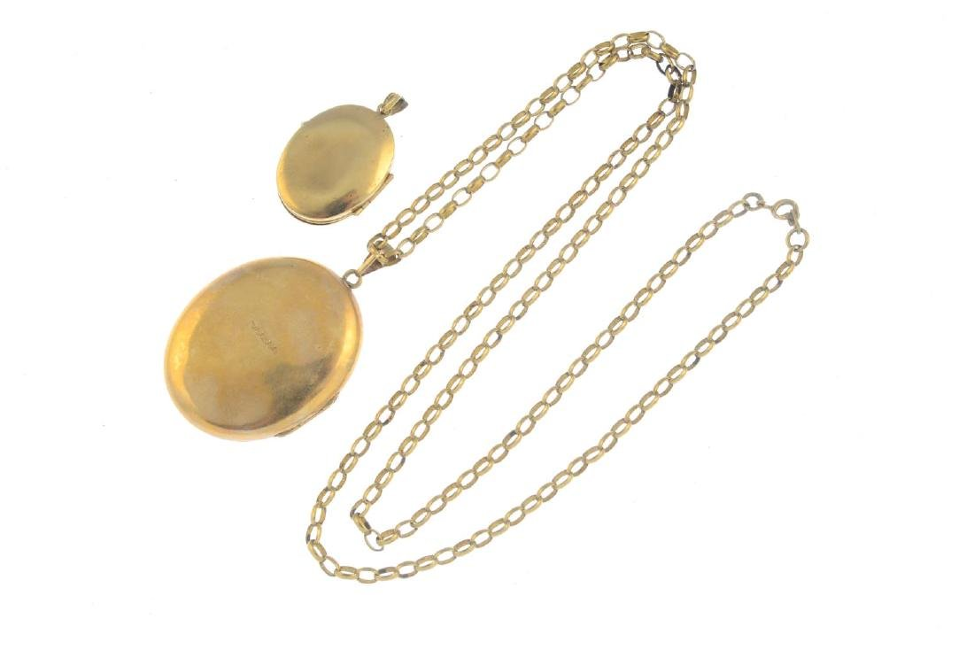 (52476) Two 9ct gold lockets. Both of oval outline, - 2