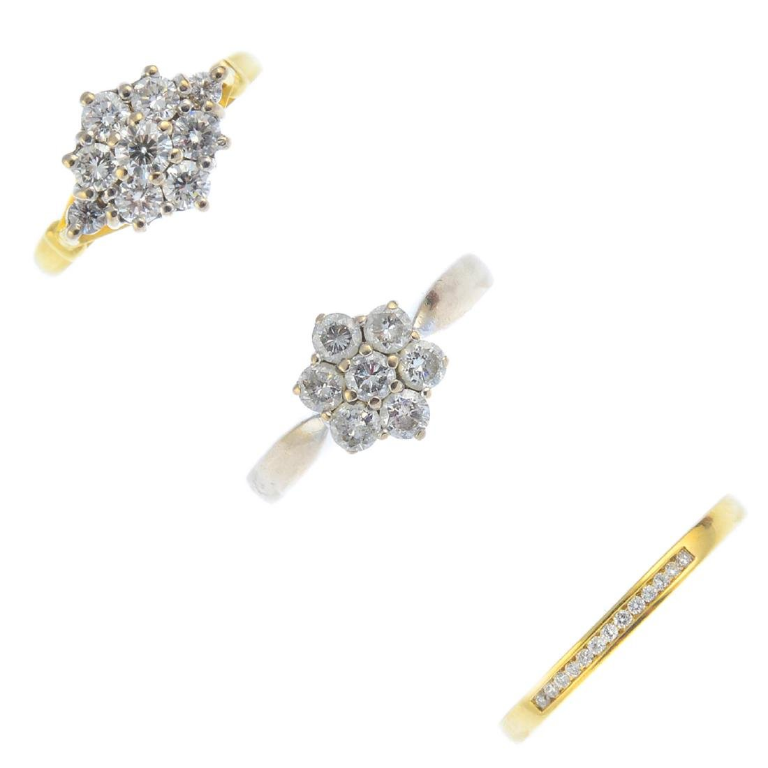 (52778) Three 18ct gold diamond rings. To include a