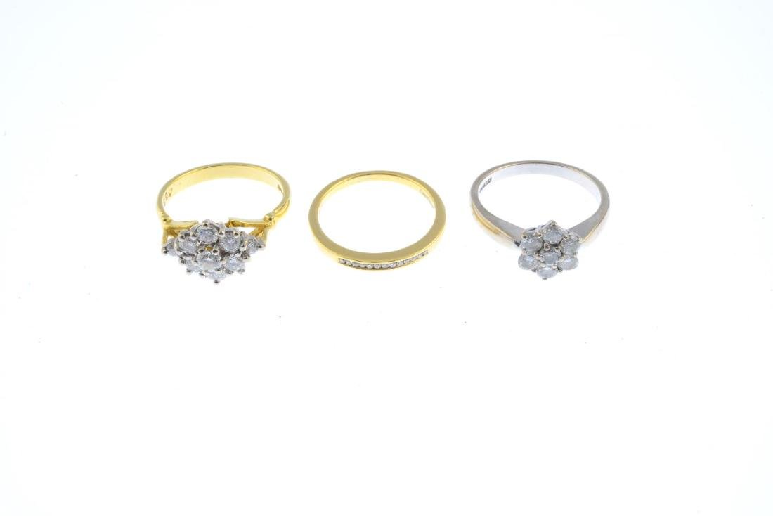 (52778) Three 18ct gold diamond rings. To include a - 2