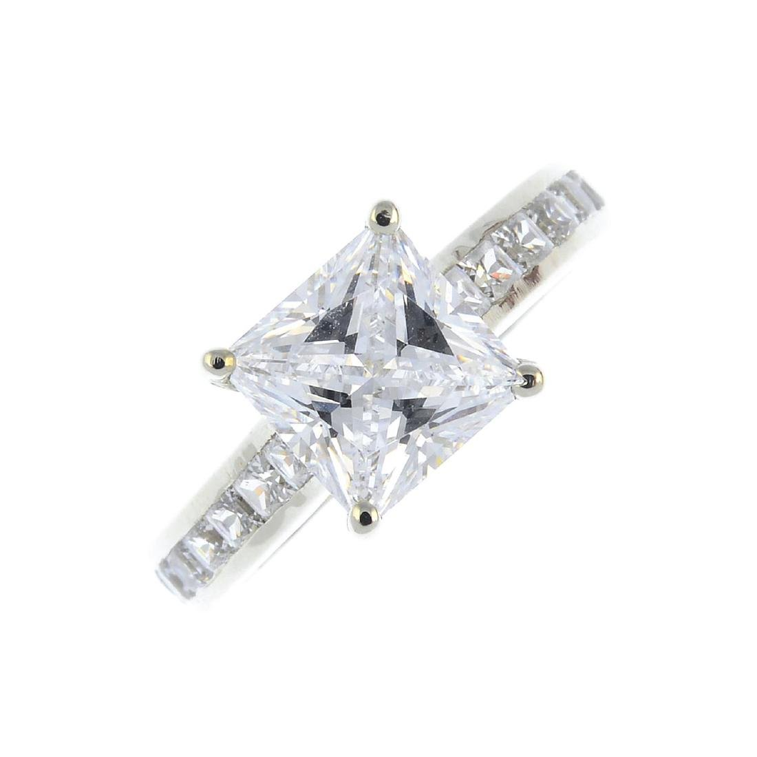 (52863) A cubic zirconia dress ring. The square-shape