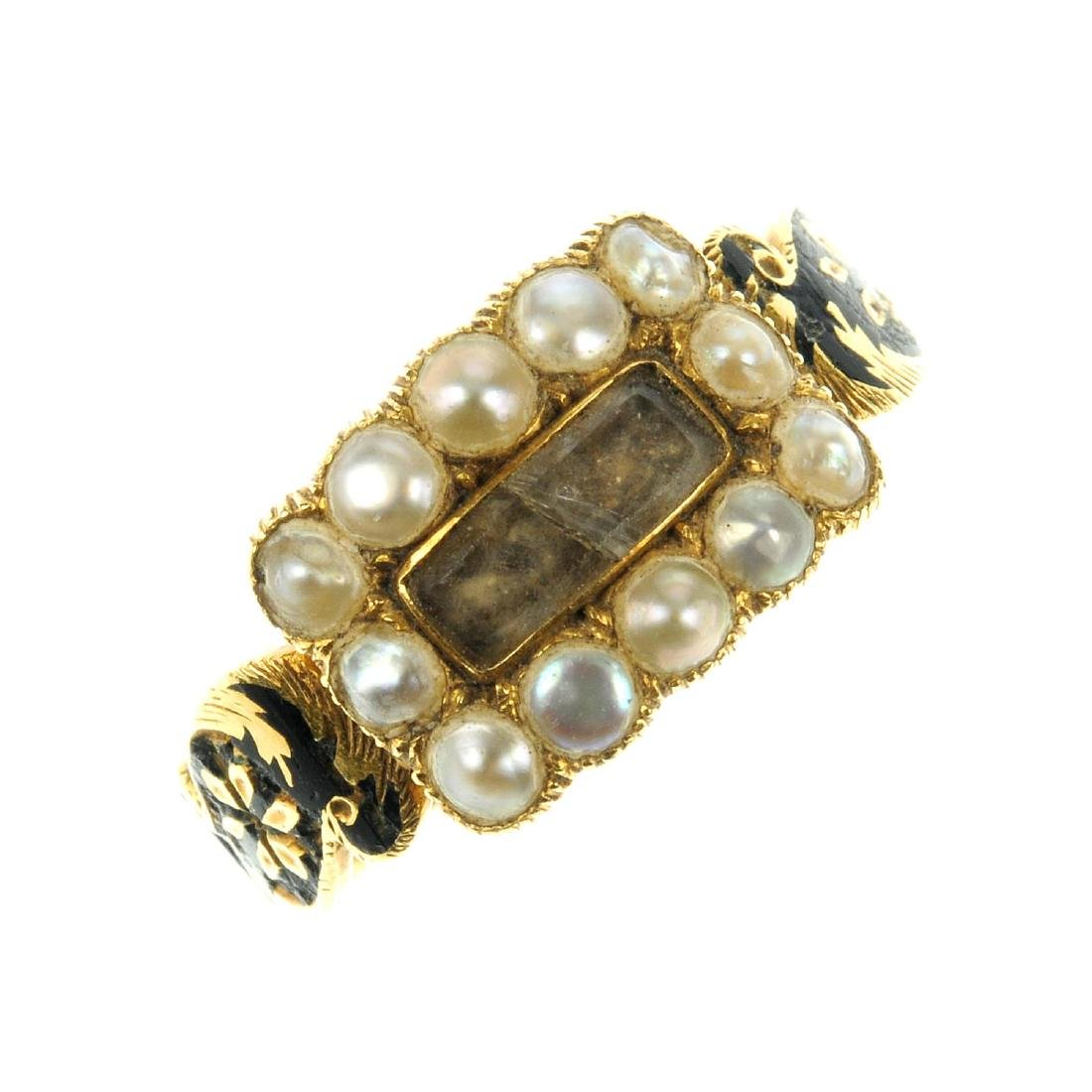 A George IV 18ct gold, split pearl and enamel ring. The