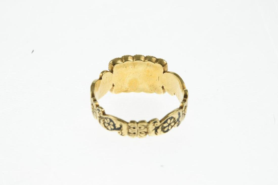 A George IV 18ct gold, split pearl and enamel ring. The - 3