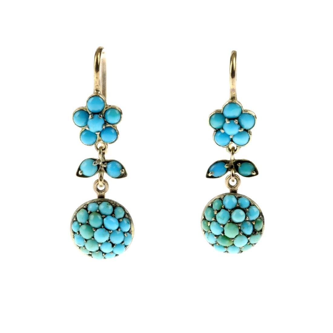 A pair of late Victorian turquoise earrings. Designed