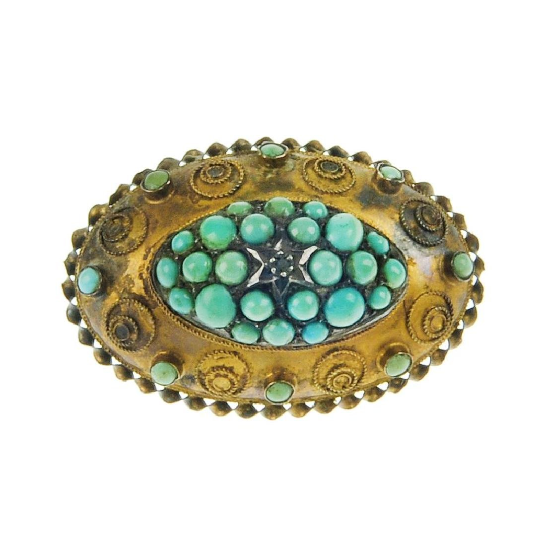 A late Victorian 15ct gold turquoise brooch. Of oval