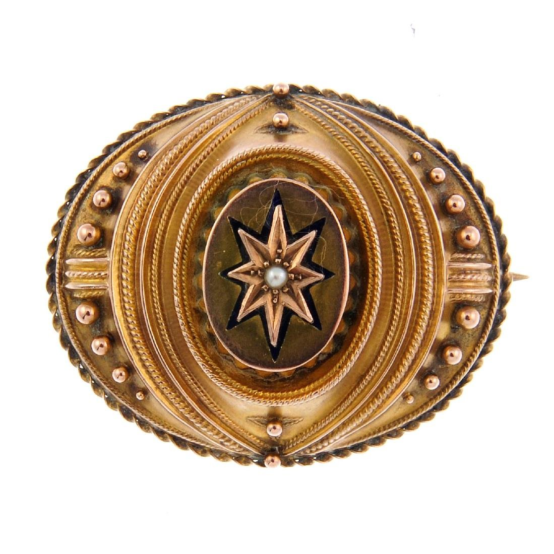 A late Victorian gold enamel and split pearl memorial