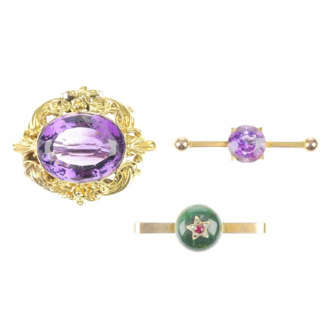 Three late 19th to early 20th century gem brooches. To