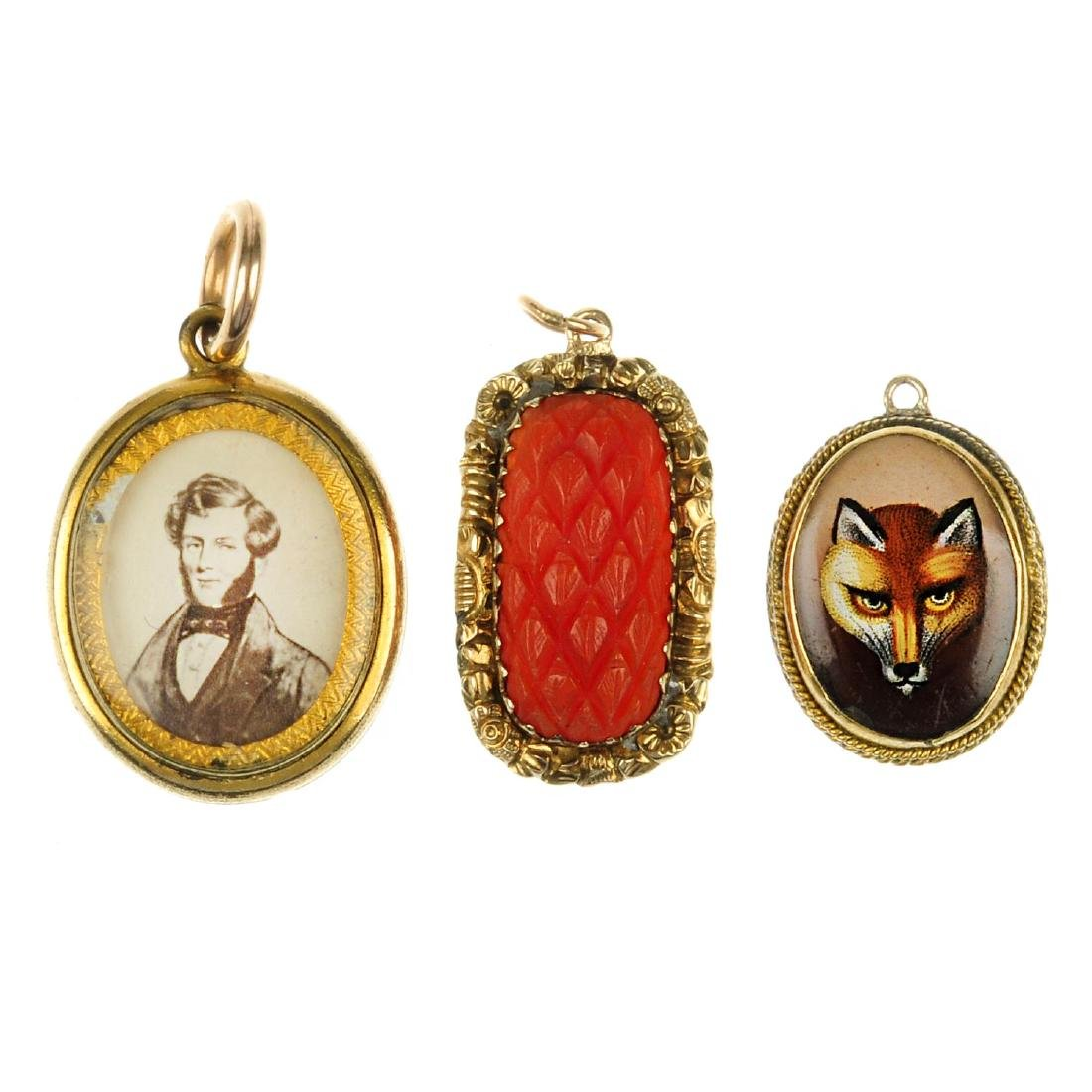 Three mid to late Victorian pendants. The first a