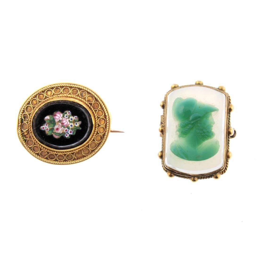Two late 19th century brooches. To include an oval