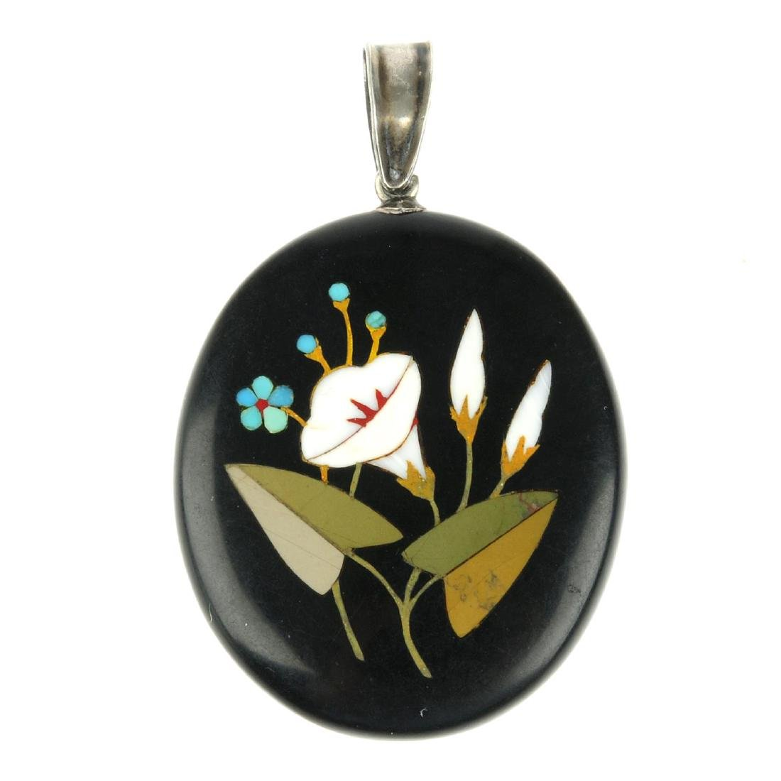 A late 19th century pietra dura pendant. Of oval
