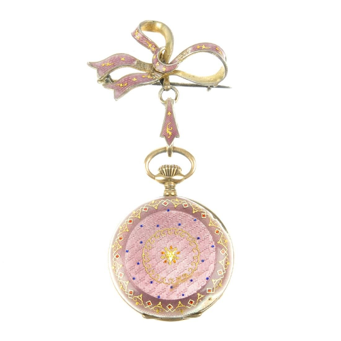 An Edwardian guilloche enamel fob watch. Designed as a