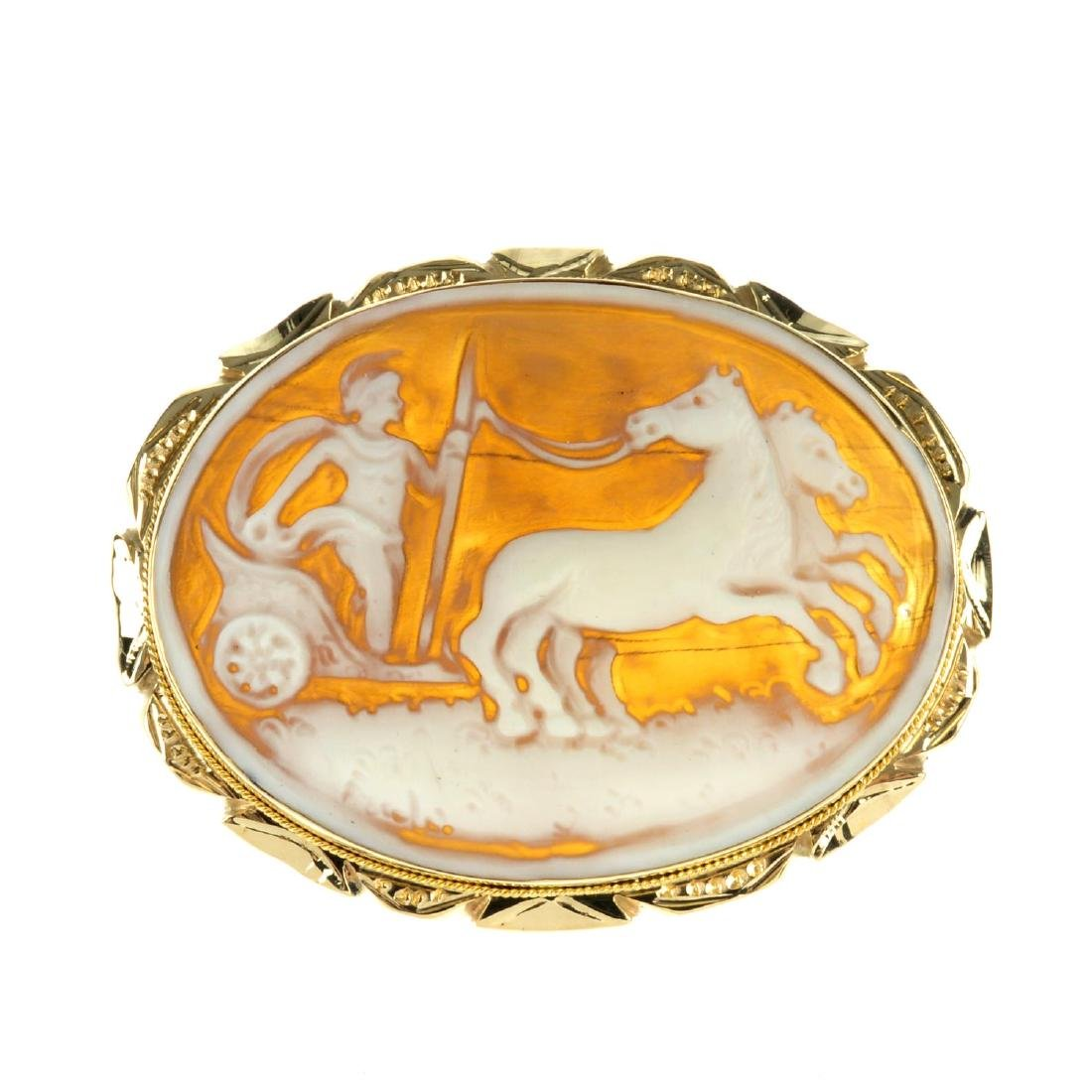 A 9ct gold cameo brooch and an 18ct gold cameo ring.