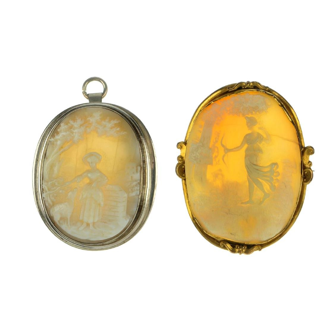 Nine cameo brooches. To include an oval shell cameo