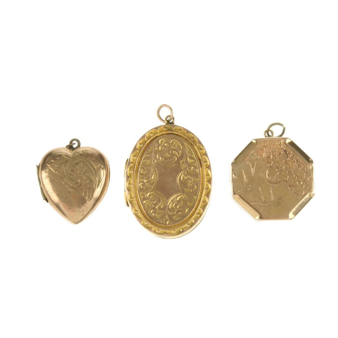 Six 9ct gold front and back lockets. To include an