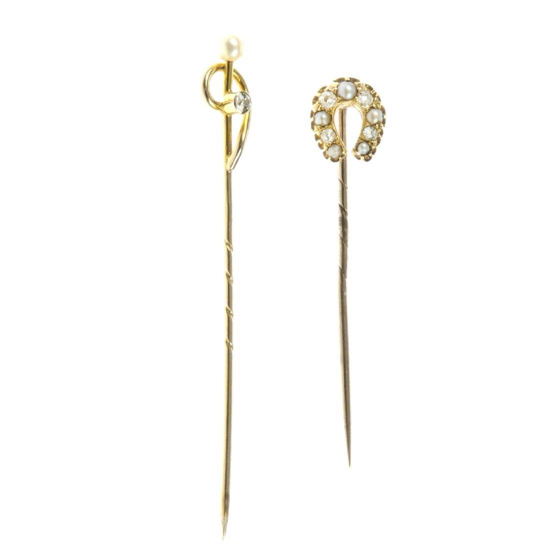 Two late Victorian gem-set stickpins. The first a