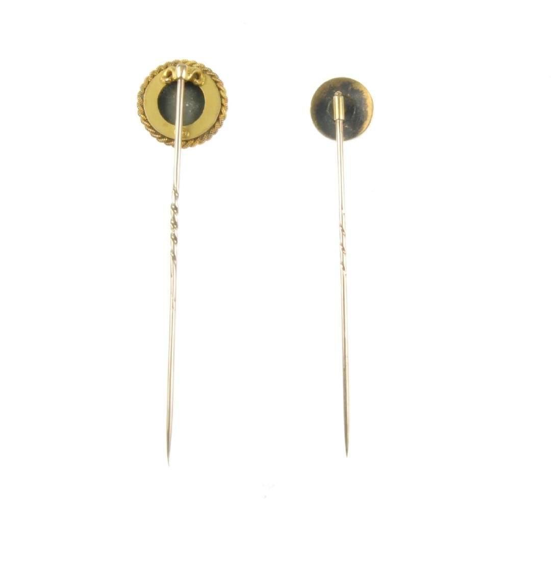 Two late Victorian gem stickpins. The first set with a - 2