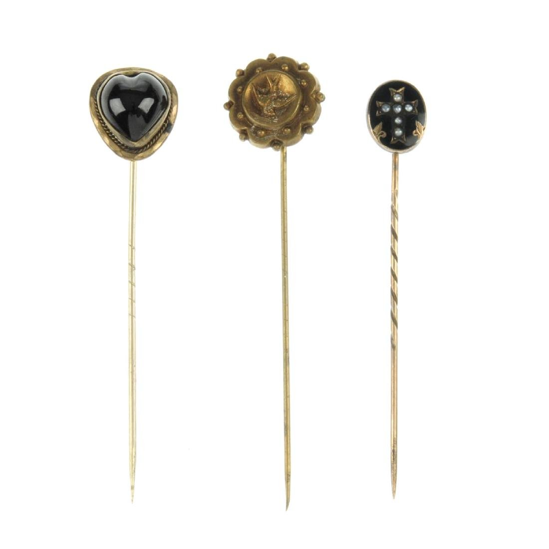 Seven late Victorian stickpins. To include one with a