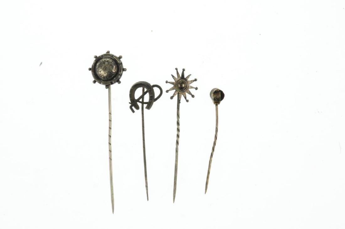 Seven late Victorian stickpins. To include one with a - 2