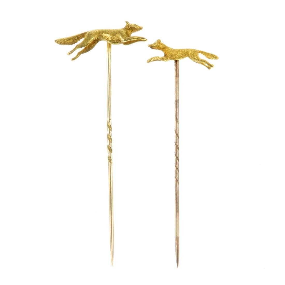 Two fox stickpins. Both designed as leaping or running