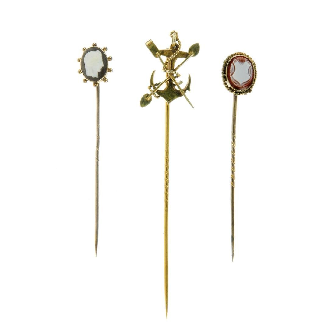 Five stickpins. To include a circular pin set with
