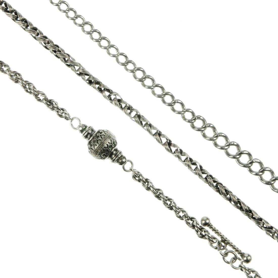Five silver and white metal pocket watch chains and