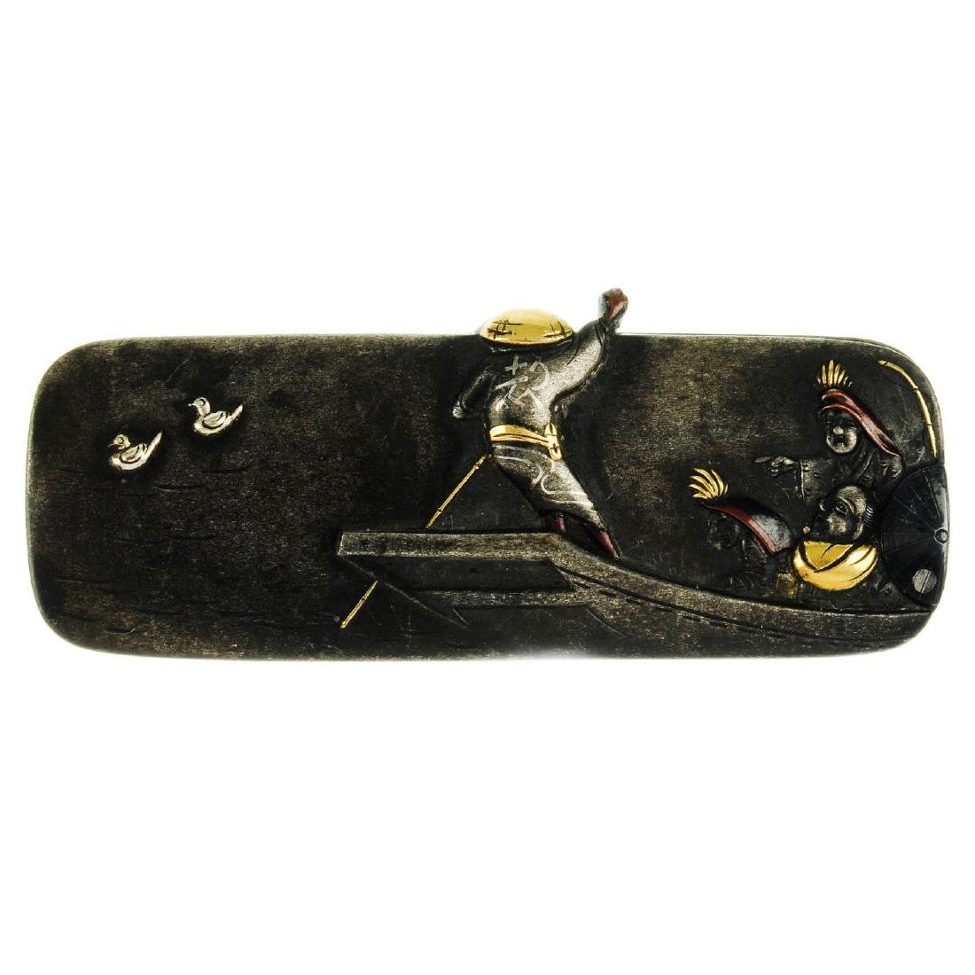 A late 19th century Japanese Shakudo purse clasp. Of