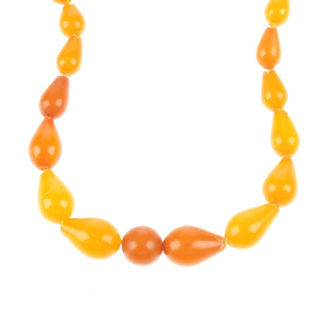 A natural amber necklace. Comprising a central