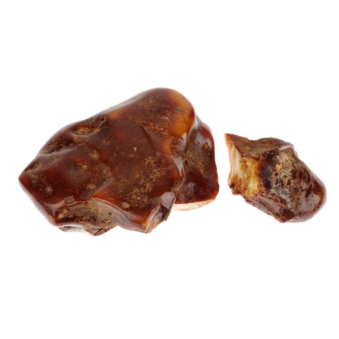 A piece of natural amber. Separated into two pieces