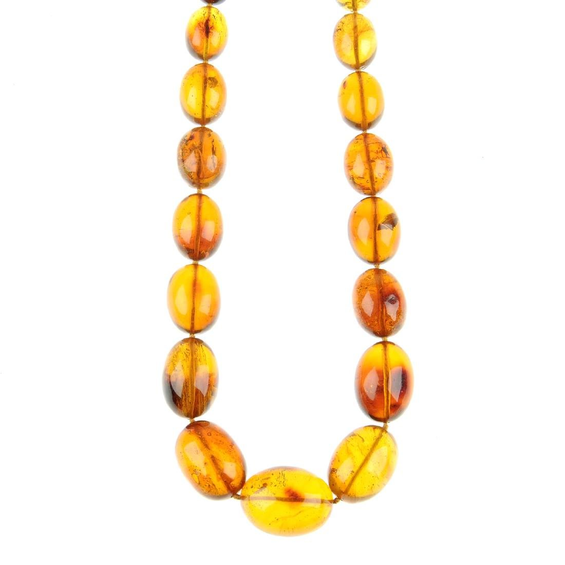 A natural Dominican Republic amber bead necklace.