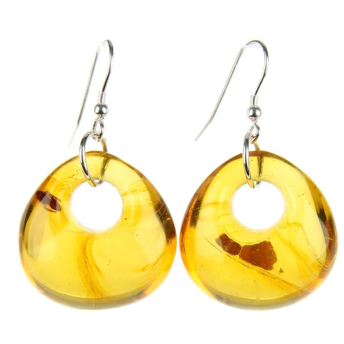 Two pairs of natural Dominican Republic amber earrings.