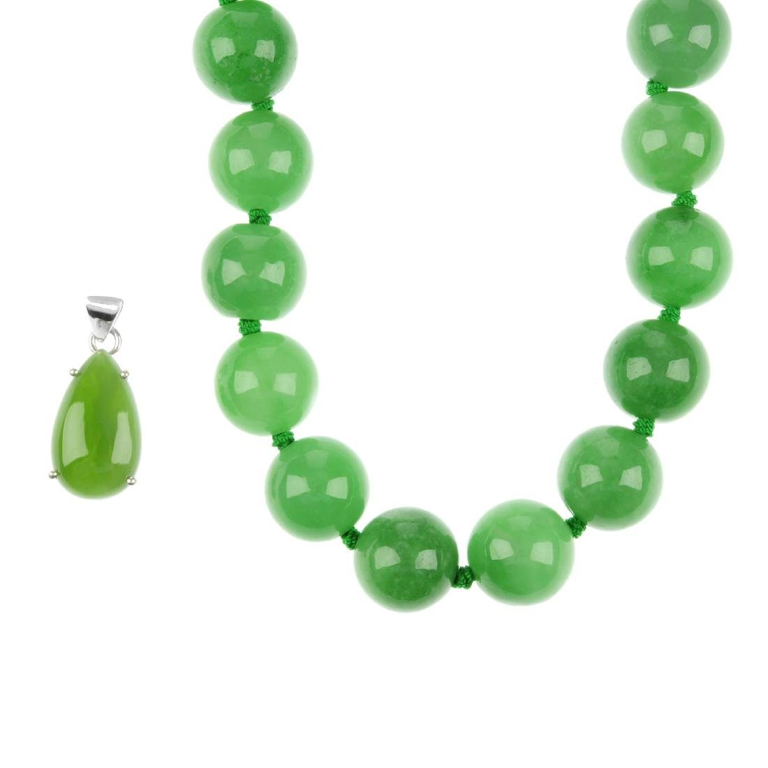 A selection of jadeite jewellery. To include two