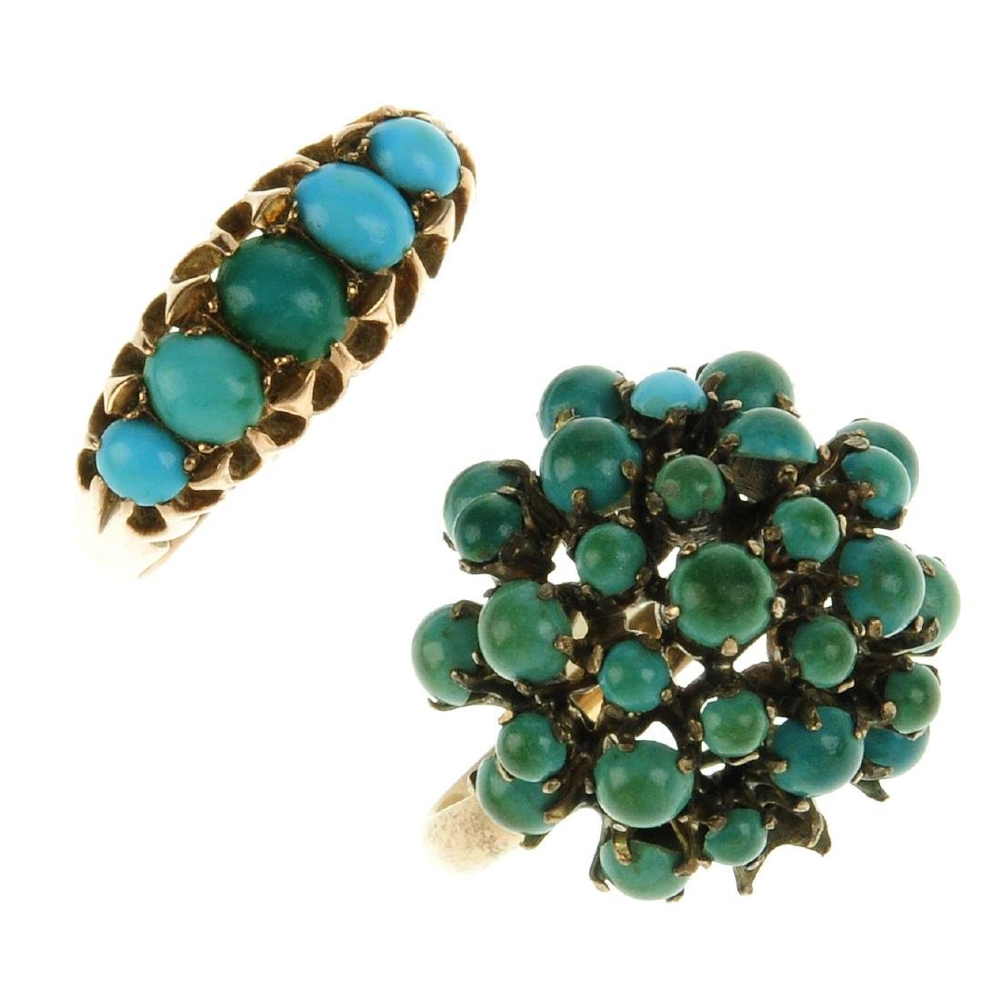 Two turquoise rings. The first an early 20th century