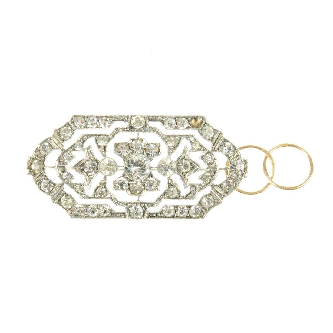 An early 20th century silver paste brooch and a pair of
