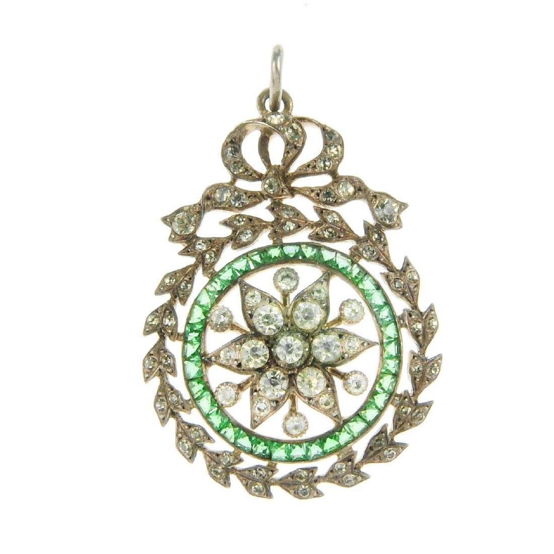 An early 20th century silver paste pendant. Designed as