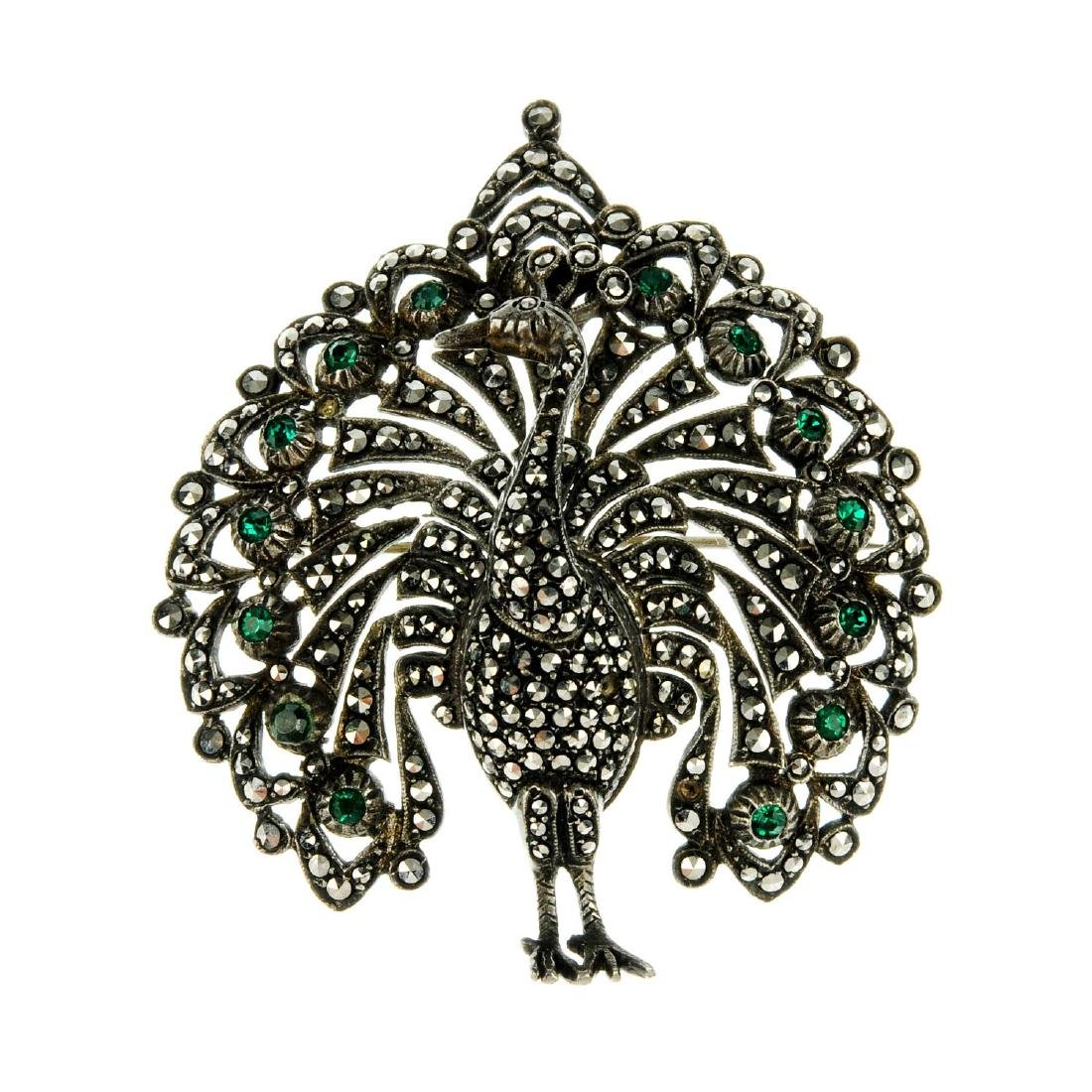Seven items of marcasite jewellery. To include a