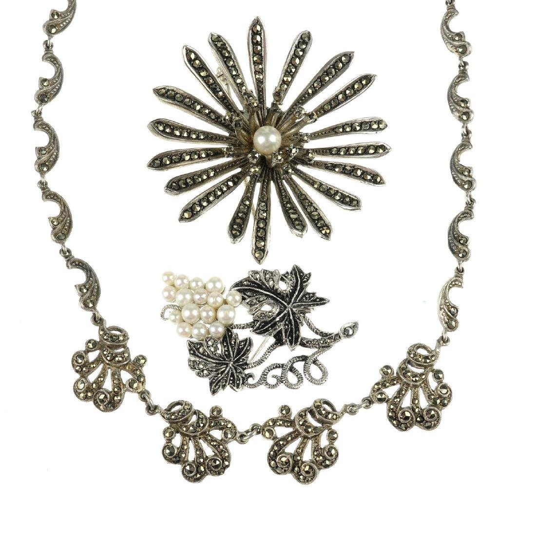 A selection of marcasite jewellery. To include a