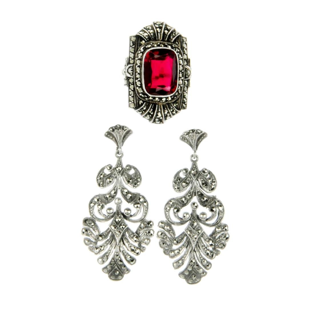 A selection of marcasite jewellery. To include a red