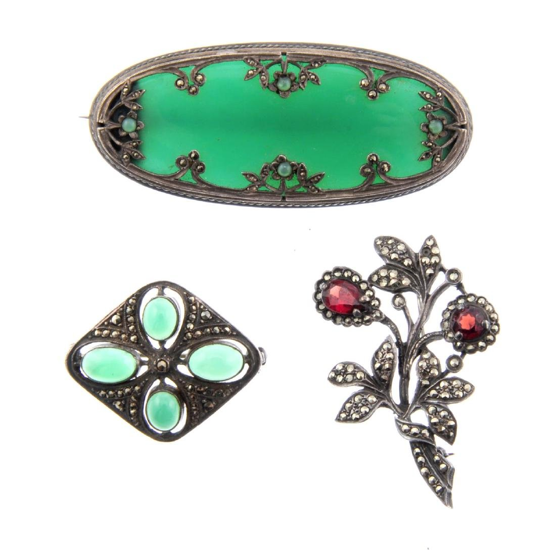 A selection of marcasite jewellery. To include an oval