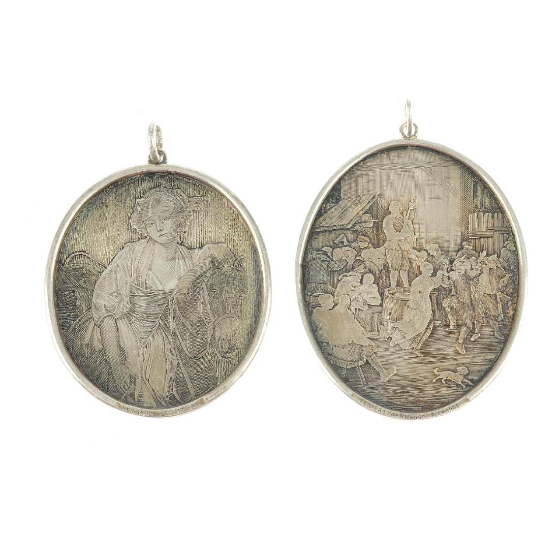Two engraved plaque pendants depicting famous