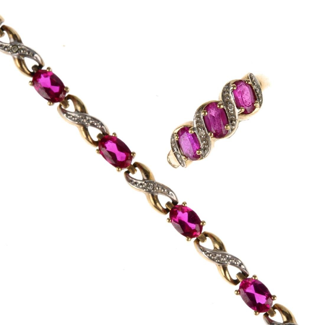 A synthetic ruby and diamond bracelet and ring. The