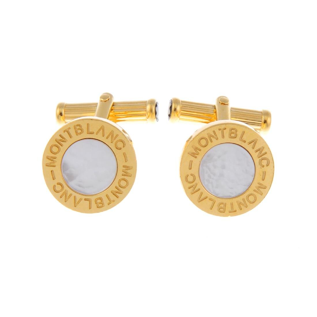 MONT BLANC - a pair of mother-of-pearl cufflinks. Each