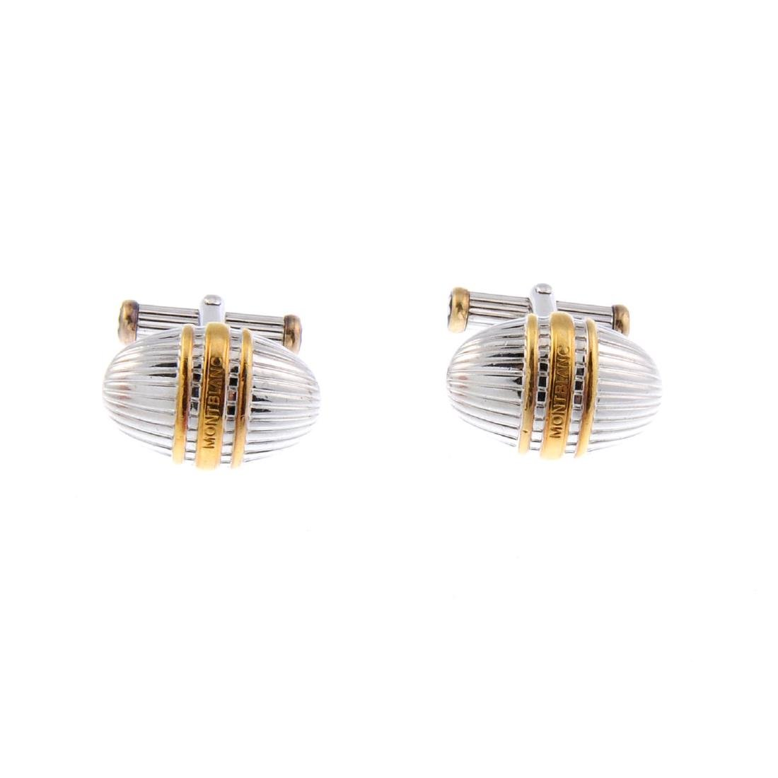MONT BLANC - a pair of bi-colour cufflinks and matching