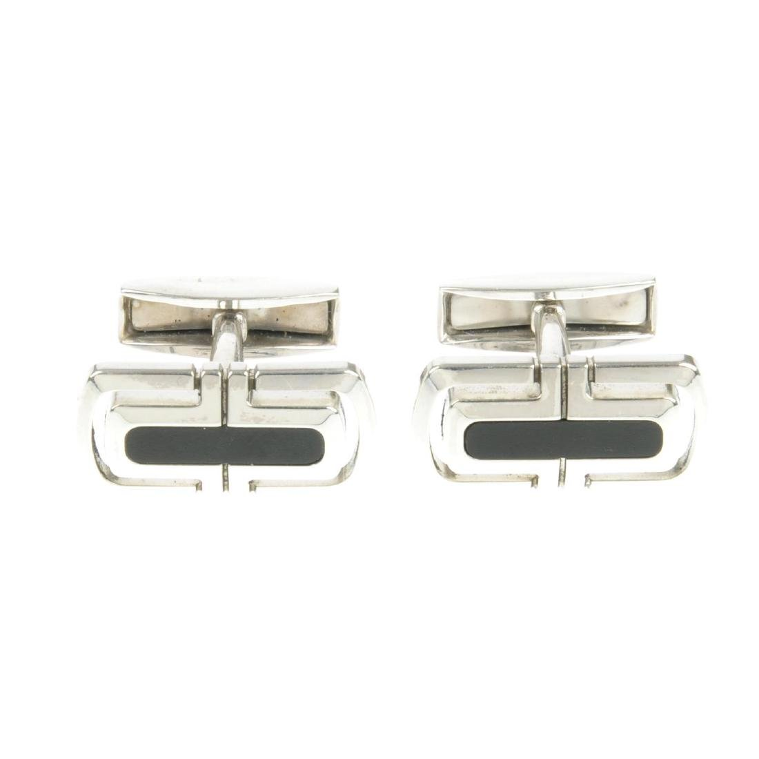 BULGARI - a pair cufflinks. Each of rectangular