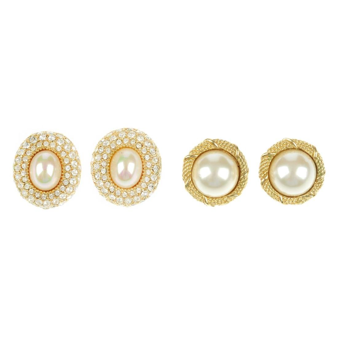 CHRISTIAN DIOR - two pairs of clip earrings. One pair
