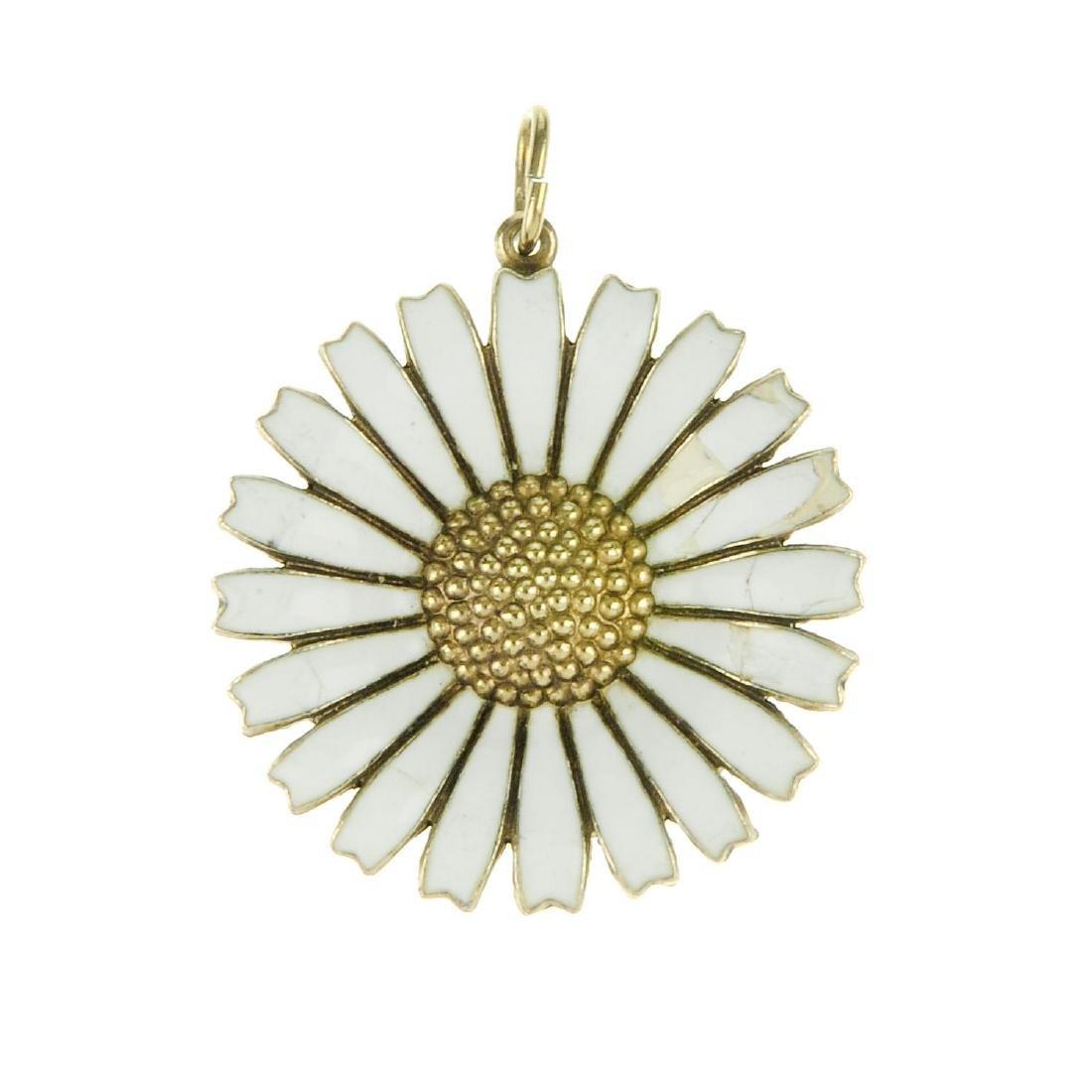 GEORG JENSEN - an enamel Daisy pendant. Designed as a