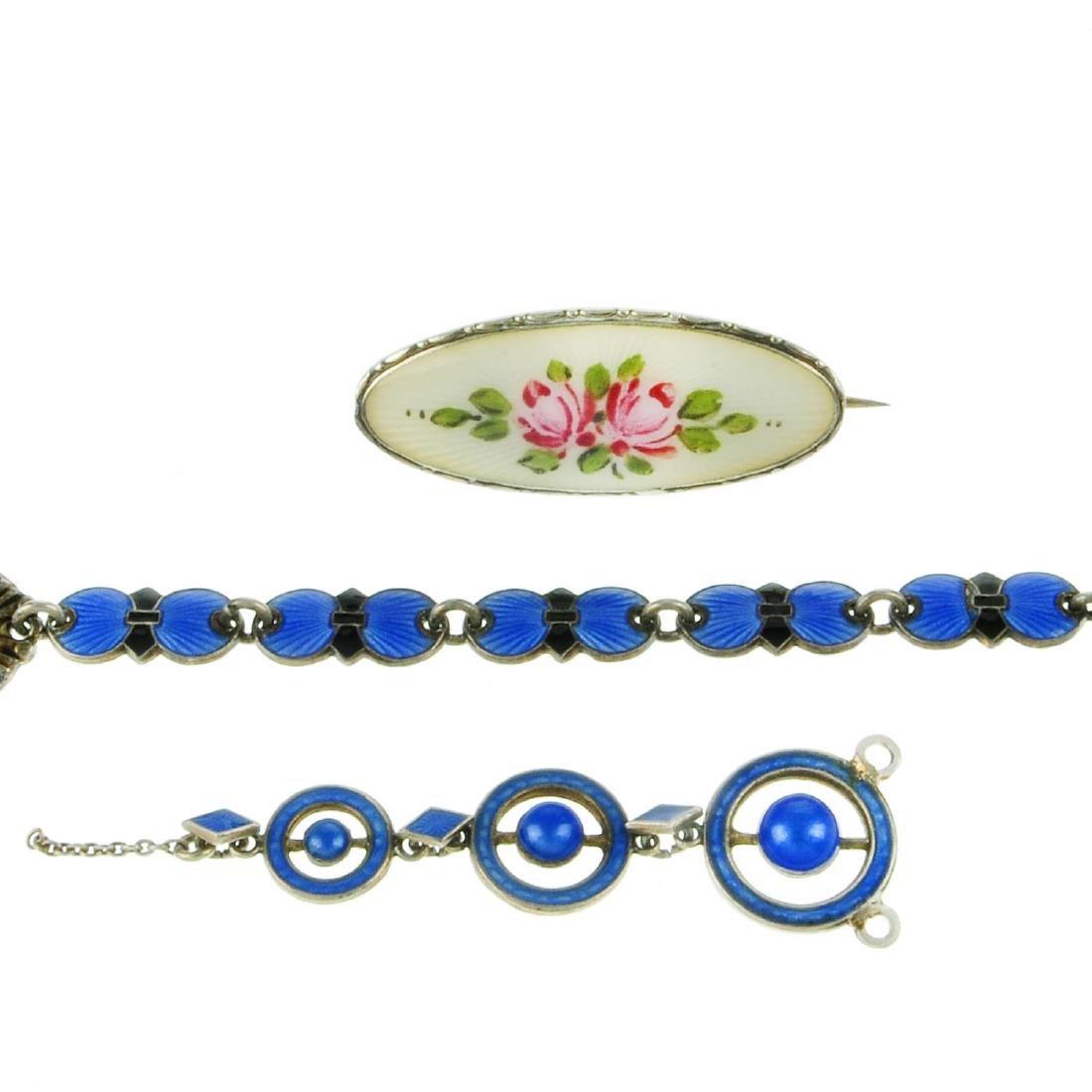 Three Scandinavian enamel items of jewellery. The first