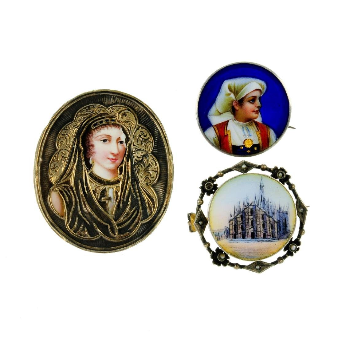 A selection of enamel jewellery. To include a button