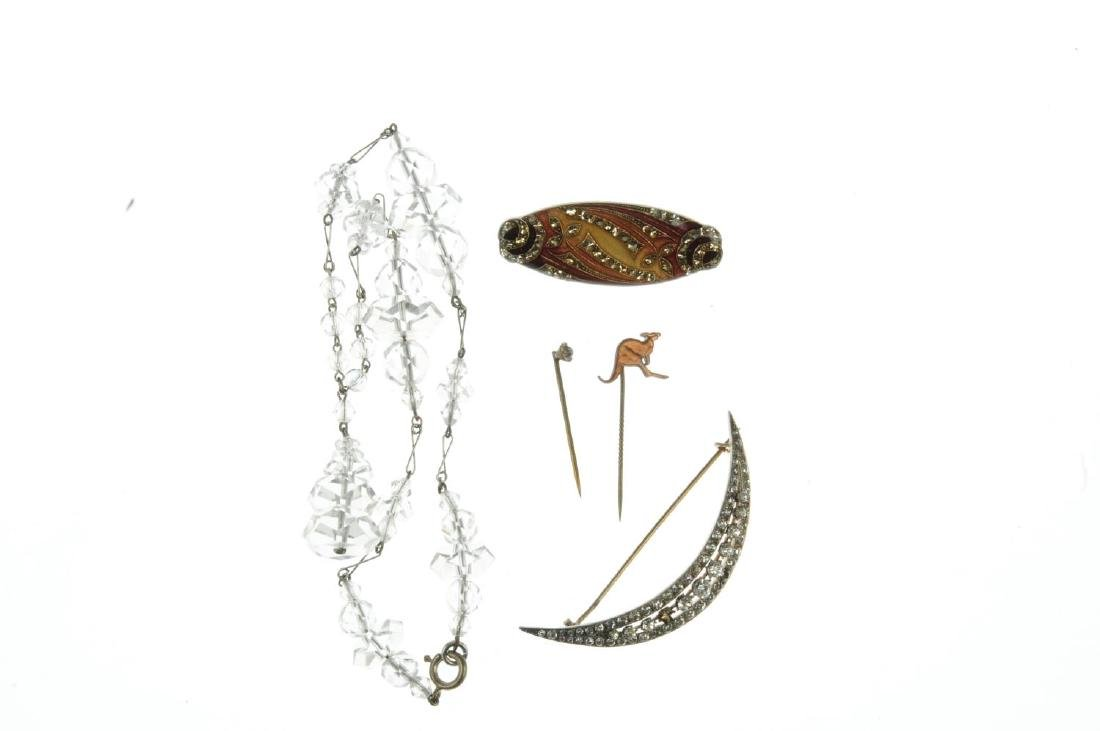 A selection of stickpins and jewellery. To include one - 3